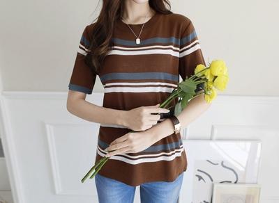1区韩国本土服装代购(韩国圆通直发)clicknfunny-时尚百搭配色条纹针织衫(2018-04-24上架)