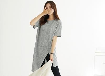 1区韩国本土服装代购(韩国圆通直发)clicknfunny-休闲个性不对称长T恤(2018-07-11上架)