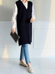 2018新款韩国服装clicknfunny品牌时尚流行长款马甲(2018.1月)