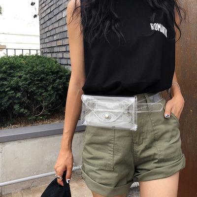 1区韩国本土服装代购(韩国圆通直发)Crazy girls-透明时尚新款斜挎包(2018-06-25上架)