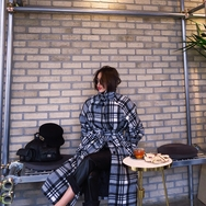2018新款韩国服装Crazy girls品牌格纹系带时尚流行大衣(2018.1月)