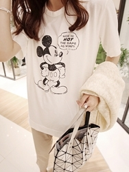 1区韩国代购货源 韩国官网正品dailylook-LKTS00869641-米奇图案宽松短袖T恤