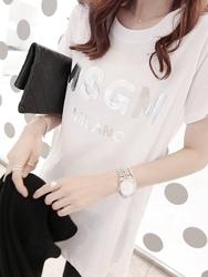 1区韩国代购货源 韩国官网正品dailylook-LKTS00870882-字母印染简约短袖T恤