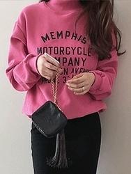 2018新款韩国服装dailylook品牌女士纯色字母时尚卫衣(2018.1月)