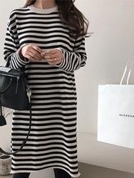 2018新款韩国服装dailylook品牌韩版休闲条纹连衣裙(2018.1月)
