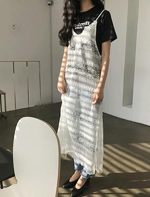 1区韩国本土服装代购(韩国圆通直发)darkvictory-时尚性感蕾丝吊带连衣裙(2018-04-20上架)