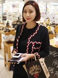 1区韩国代购正品验证ddaddadda-DACA00765996-韩版独特彩色衣边开襟衫