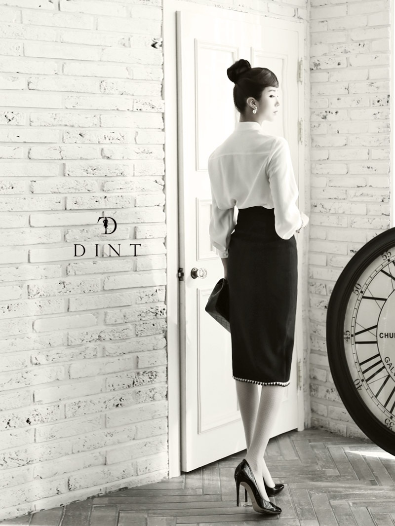 dint-单排扣韩版时尚铅笔长裙