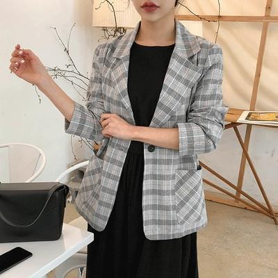 1区韩国本土服装代购(韩国圆通直发)Dodobling-韩版修身格纹夹克(2018-04-20上架)