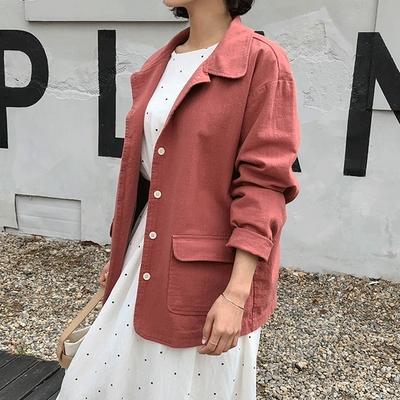 1区韩国本土服装代购(韩国圆通直发)Dodobling-简约个性纯色夹克(2018-04-20上架)