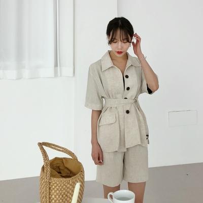 1区韩国本土服装代购(韩国圆通直发)Dodobling-纯色系带个性夹克(2018-04-20上架)