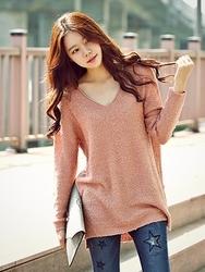 1区韩国代购正品验证jade-JDKN00766505-纯色休闲V领舒适针织衫
