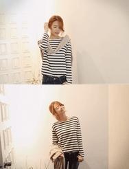 1区韩国代购正品验证jellpe-EPTS00765983-时尚魅力韩版条纹T恤