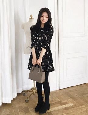 jellpe-气质魅力韩版花纹连衣裙