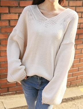 jellpe-韩版魅力时尚纯色休闲针织衫