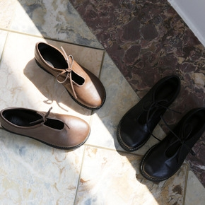 jellpe-复古纯色系带平底鞋