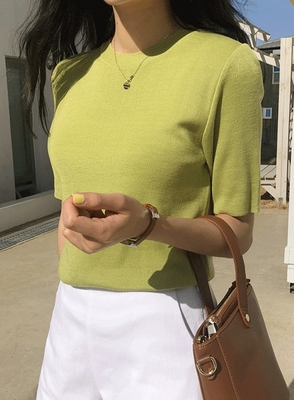 1区韩国本土服装代购(韩国圆通直发)jellpe-休闲舒适纯色短袖针织衫(2018-04-24上架)