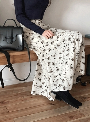 jellpe-时尚优雅碎花长裙
