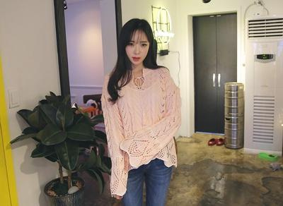 22xx-清新系带纯色针织衫