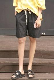 1区2017夏装新款|正宗韩国代购韩国发货|22xx品牌韩国休闲宽松纯色中裤(2017.5月)