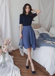 2018新款韩国服装eranzi品牌韩版时尚荷叶边中裙(2018.3月)