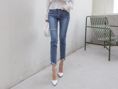 eranzi-韩版百搭舒适牛仔裤