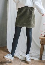 2018新款韩国服装goroke品牌时尚纯色蕾丝短裙(2018.1月)