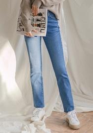 2018新款韩国服装goroke品牌磨破磨边直筒牛仔裤(2018.1月)