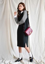 2018新款韩国服装goroke品牌休闲舒适纯色无袖连衣裙(2018.1月)