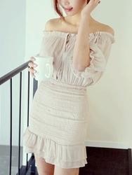 1区韩国代购正品验证heizle-HZOP00849335-淑女魅力韩版纯色连衣裙