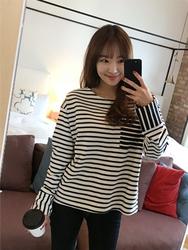 2018新款韩国服装hellopeco品牌魅力条纹宽松T恤(2018.1月)