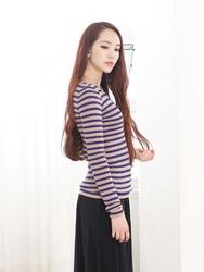 1区韩国代购正品验证holic4u-HFKN00764855-时尚淑女简单条纹针织衫
