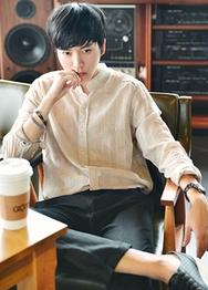 1区韩国代购货源|韩国官网正品hotboom-HBBL00911877-舒适修身亚麻纯色衬衫