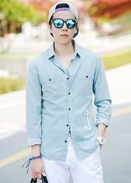 1区韩国服装网店代理一件代发hotboom-HBBL00914122-简约纽扣百搭人气衬衫