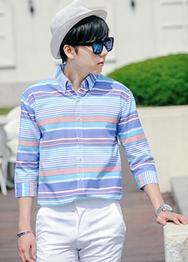 1区韩国服装网店代理一件代发hotboom-HBBL00914123-阳光活力百搭7分袖衬衫