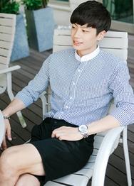 1区韩国服装网店代理一件代发hotboom-HBBL00914125-都市休闲纯棉时尚衬衫
