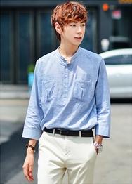 1区韩国服装网店代理一件代发hotboom-HBBL00916090-舒适亚麻口袋7分袖衬衫