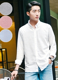 1区韩国服装网店代理一件代发hotboom-HBBL00917527-舒适纯色帅气亚麻衬衫