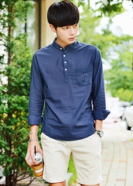 1区韩国服装网店代理一件代发hotboom-HBBL00918168-韩版口袋纽扣帅气衬衫