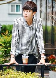 1区韩国服装网店代理一件代发hotboom-HBBL00919462-夏季薄款格纹休闲衬衫
