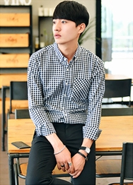 1区韩国服装网店代理一件代发hotboom-HBBL00920815-修身时尚口袋格纹衬衫