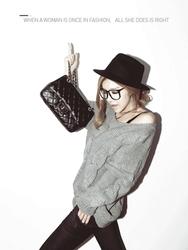 1区韩国代购正品验证iampretty-PTKN00766085-韩国新品V领麻花纹针织衫