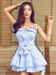 1区韩国代购货源|韩国官网正品iampretty-PTOP00902062-时尚蝴蝶结吊带连衣裙