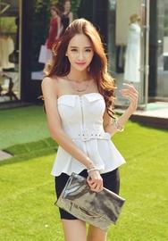 1区韩国代购货源|韩国官网正品iampretty-PTTS00904827-时尚性感拉链配色裹胸T恤