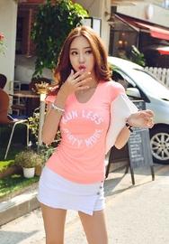 1区韩国代购货源|韩国官网正品iampretty-PTTS00904828-字母印染圆领修身短袖T恤