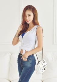 1区韩国服装网店代理一件代发iampretty-PTTS00918714-简约气质拉链无袖修身T恤