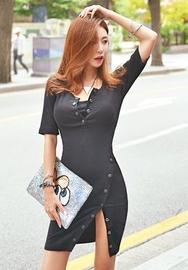 1区韩国服装网店代理一件代发iampretty-PTOP00918711-斜线扣修身气质性感连衣裙
