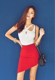 1区韩国服装网店代理一件代发iampretty-PTTS00918716-X线交叉修身竹节无袖T恤