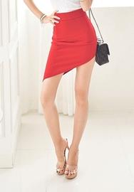 1区韩国服装网店代理一件代发iampretty-PTSS00918712-魅力高腰修身斜线短裙