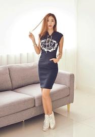 1区韩国服装网店代理一件代发iampretty-PTOP00918713-舒适弹力印染休闲连帽连衣裙